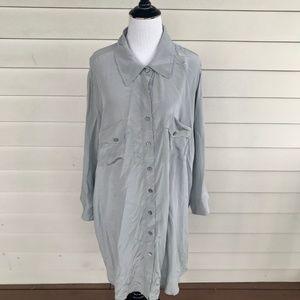 Soft Surroundings Pearl Gray Silk Button Up Shirt